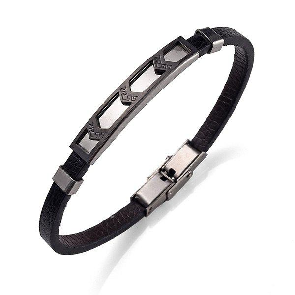 PU Leather Stainless Steel Cool BraceletJEWELRY<br><br>Color: BLACK; Gender: For Men; Chain Type: Leather Chain; Style: Trendy; Shape/Pattern: Geometric; Length: 21.3CM; Weight: 0.0300kg; Package Contents: 1 x Bracelet;