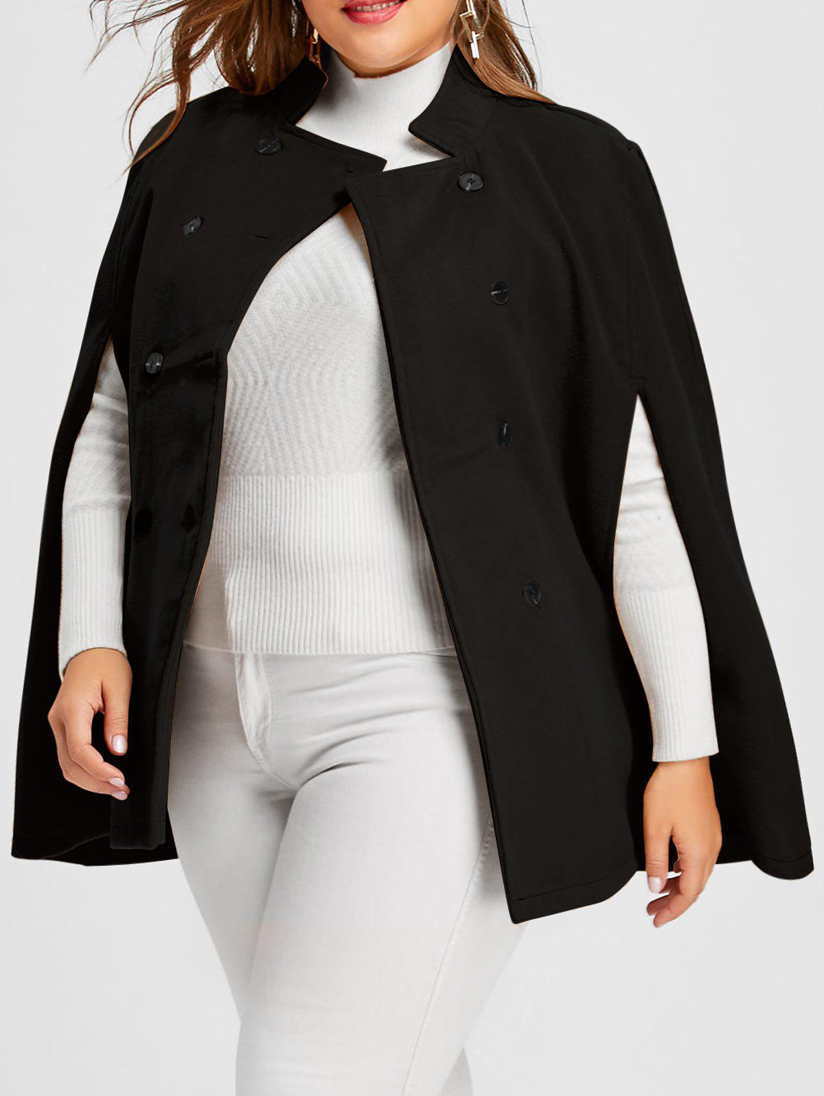 Plus Size Double Breasted Wool Blend Cape Coat with BeltWOMEN<br><br>Size: 5XL; Color: BLACK; Clothes Type: Trench; Material: Polyester; Type: Bat Sleeved; Shirt Length: Regular; Sleeve Length: Three Quarter; Sleeve Type: Batwing Sleeve; Collar: Round Neck; Closure Type: Double Breasted; Pattern Type: Solid; Style: Fashion; Season: Winter; Weight: 0.8000kg; Package Contents: 1 x Coat;