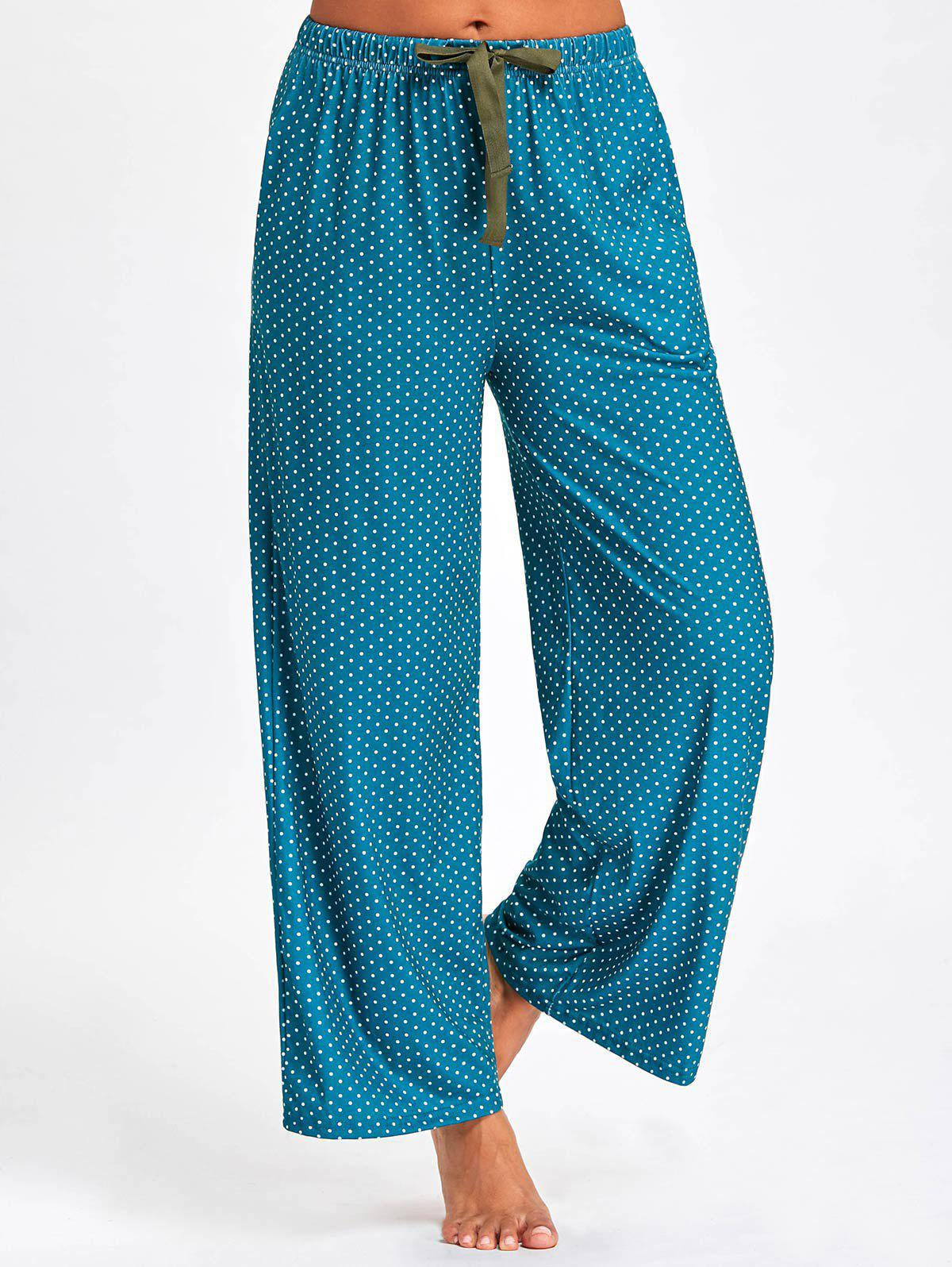 Drawstring Waist Polka Dot Pajama PantsWOMEN<br><br>Size: XL; Color: DEEP GREEN; Material: Polyester,Spandex; Pattern Type: Polka Dot; Weight: 0.2700kg; Package Contents: 1 x Pants;