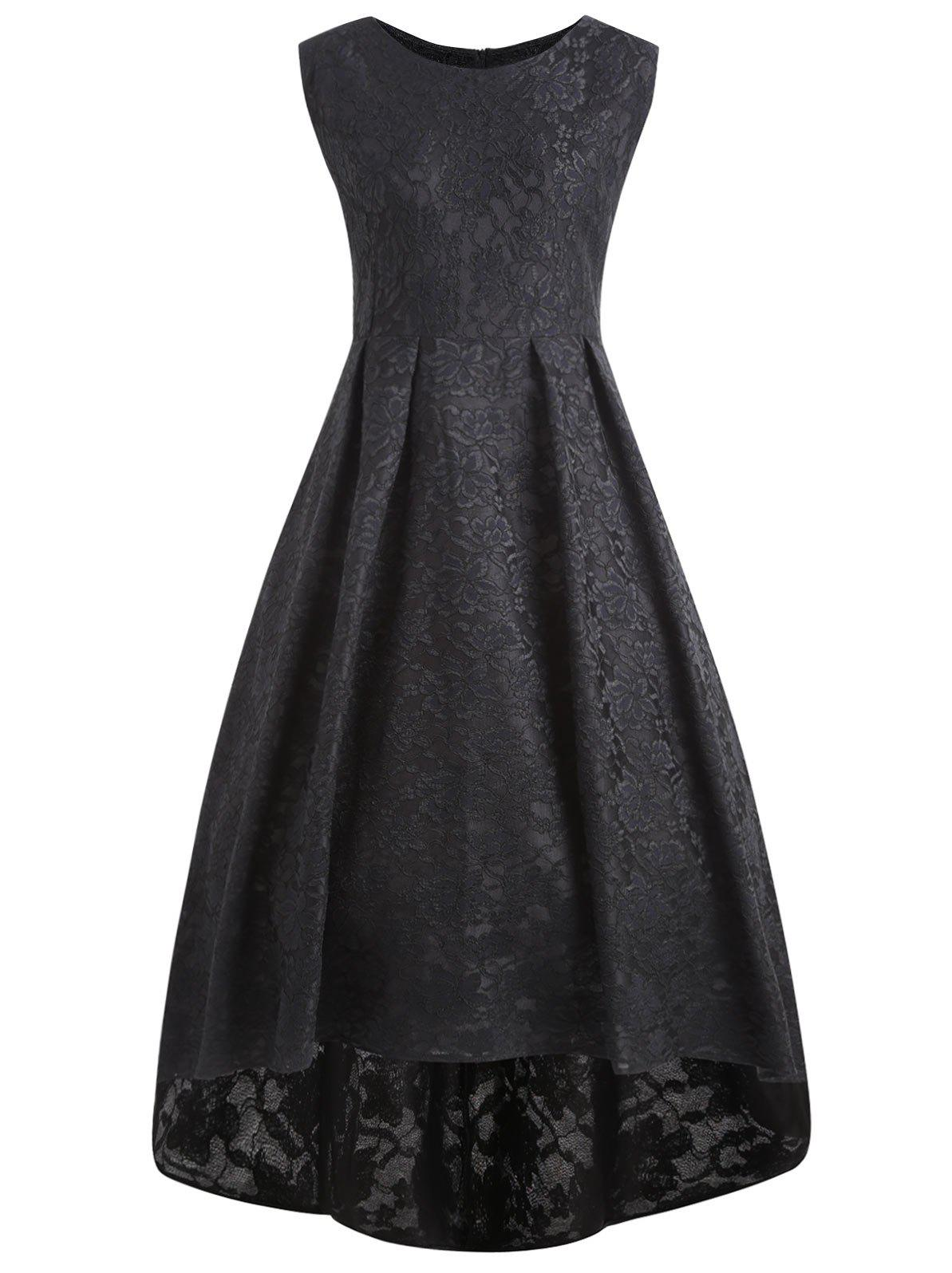 Plus Size High Low Lace Midi Vintage DressWOMEN<br><br>Size: 2XL; Color: BLACK; Style: Vintage; Material: Cotton Blend,Polyester; Silhouette: Ball Gown; Dresses Length: Mid-Calf; Neckline: Round Collar; Sleeve Length: Sleeveless; Waist: High Waisted; Pattern Type: Solid Color; With Belt: No; Season: Fall,Winter; Weight: 0.7000kg; Package Contents: 1 x Dress;