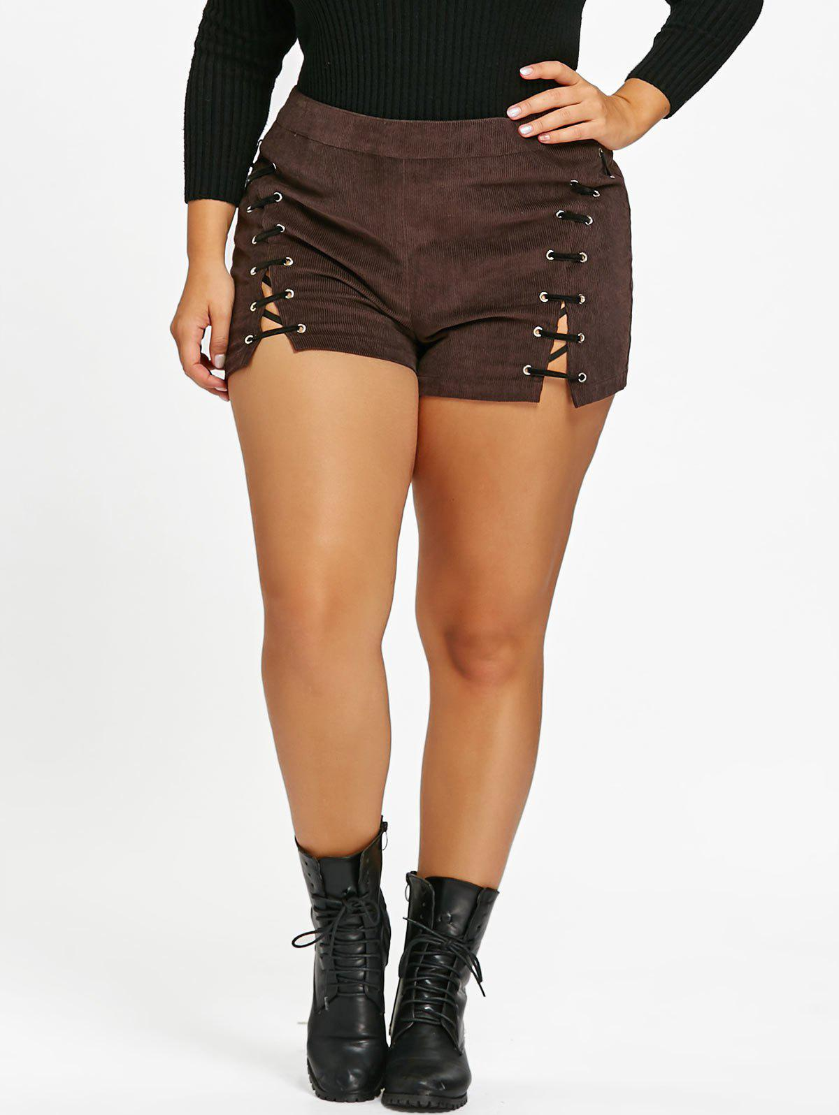 Plus Size Corduroy Slim Lace Up ShortsWOMEN<br><br>Size: 3XL; Color: COFFEE; Style: Fashion; Length: Short; Material: Polyester; Fit Type: Straight; Waist Type: Mid; Closure Type: Zipper Fly; Pattern Type: Solid; Pant Style: Straight; Weight: 0.2500kg; Package Contents: 1 x Shorts;
