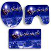 3Pcs Moonlight Christmas Carriage Pattern Bath Toilet Mats Set -