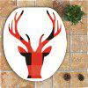 Nonslip Christmas Elk Head Printed 3Pcs Bath Toilet Mats Set -
