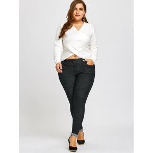 Plus Size Roll Up Leg Tall Jeans Pants -