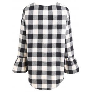 Plus Size Flare Sleeve V Neck Plaid Top -