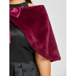 Plus Size Faux Fur Self Tie Capelet -