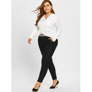 Stripe Contrast Plus Size Fleece Lined Pants -