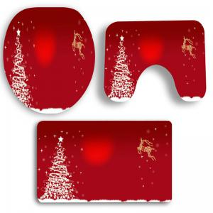 Christmas Star Tree Deer Pattern 3 Pcs Bath Mat Toilet Mat -