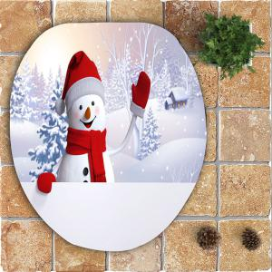 Christmas Snowman Village Pattern 3 Pcs Bath Mat Toilet Mat -