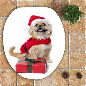 Christmas Dog Gift Pattern 3 Pcs Bath Mat Toilet Mat -