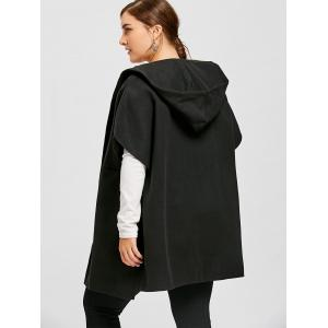 Hooded Plus Size Capelet Coat -