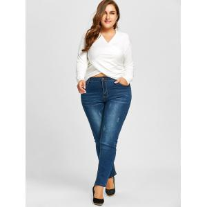 Plus Size Line Embroidered Slim Skinny Jeans -