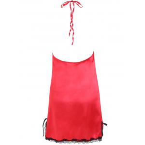 Satin Lace Insert Backless Babydoll -