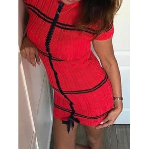 Short Sleeve Mock Neck Knit Sweater Dress -