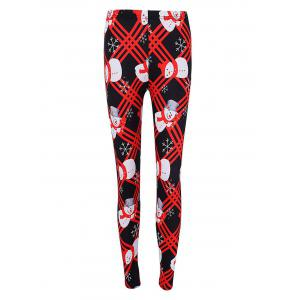 Christmas Snowman Print Checked Skinny Leggings -