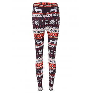 Leggings Moulants Imprimé Renne de Noël et Flocon de Neige -