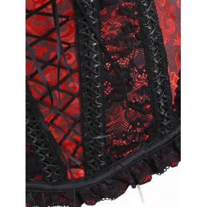 Lace Trim Vintage Zip Brocade Corset -