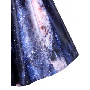 Galaxy Print Plus Size Sleeveless Retro Dress -