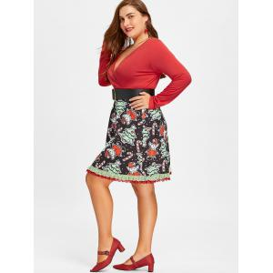 Christmas Plus Size Long Sleeve Swing Dress -