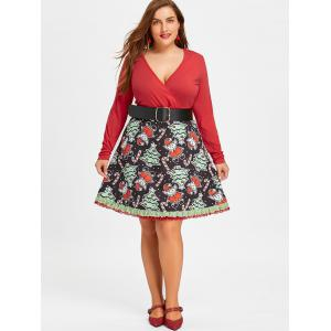 Robe Patineuse Noël à Manches Longues Grande Taille -