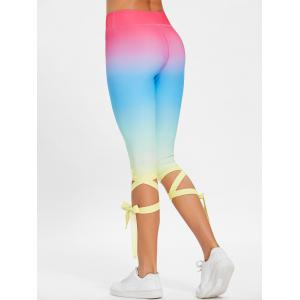Lace Up Ombre Color High Waisted Gym Pants -