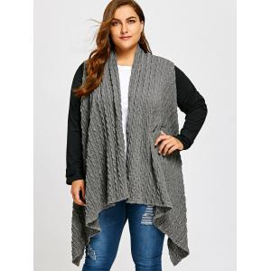 Plus Size Asymmetric Cable Panel Coat -