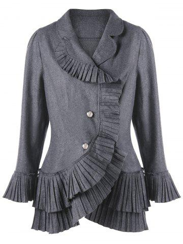 Best Plus Size Flare Sleeve Pleated Flounce Asymmetric Blazer