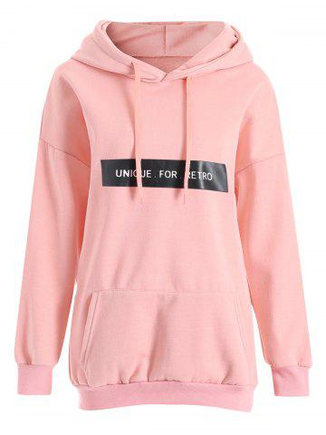 Pink 4xl Plus Size Unique Letter Fleece Pullover Hoodie | RoseGal.com