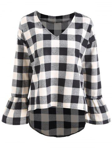 Unique Plus Size Flare Sleeve V Neck Plaid Top