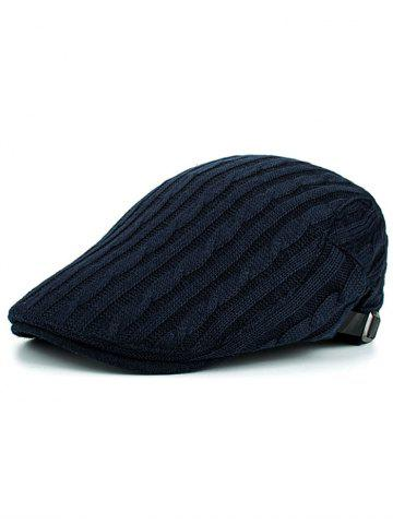 Hot Outdoor Striped Pattern Embellished Knit Newsboy Hat