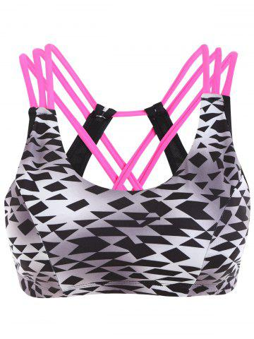 Cheap Geometric Print Strappy Sporty Bra