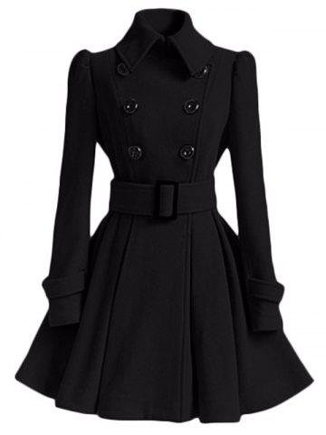 Double Breasted Skirted Coat with Belt
