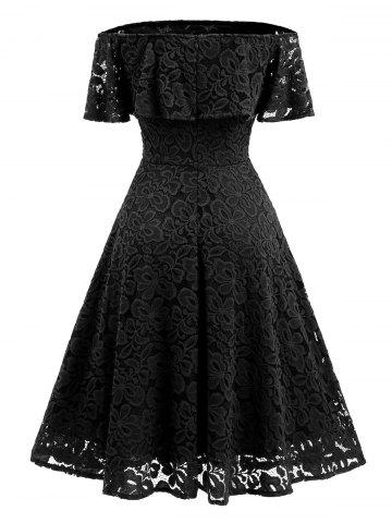 Discount Lace Ruffle Vintage Off The Shoulder Dress