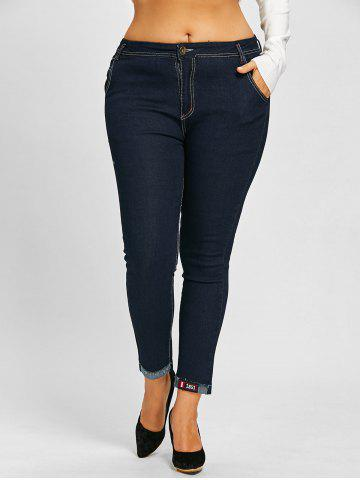 Affordable Plus Size Midi Rise Tall Jeans with Patches