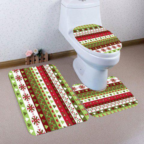 Chic Christmas Series Pattern 3 Pcs Bath Mat Toilet Mat