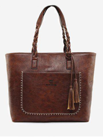 Sale Braid Whipstitch Tassels Tote Bag