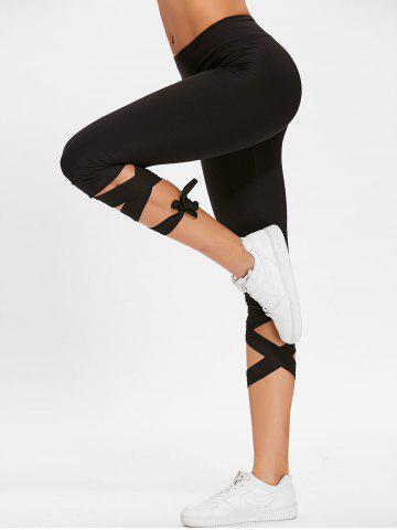 Lace Up taille haute Capri Gym pantalon