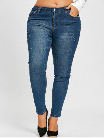 Chic Plus Size Embellished Rhinestone Ripped Jeans