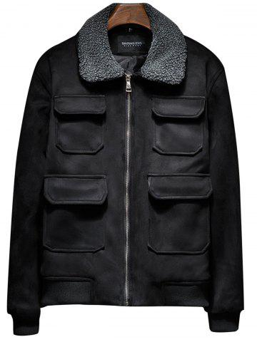 Faux Fur Collar Zip Up Padded Suede Jacket