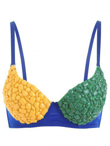 Sale Rhinestone Color Block Costume Bra