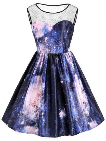 New Galaxy Print Plus Size Sleeveless Retro Dress