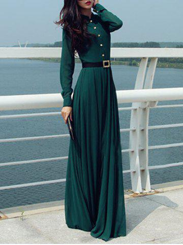 Discount Long Sleeve Button Design Maxi Dress with Belt