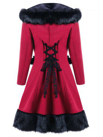Buy Hooded Faux Fur Panel Lace Up Longline Coat