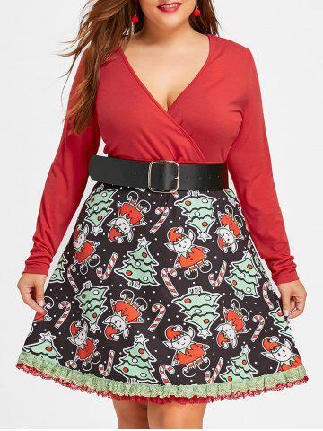 Online Christmas Plus Size Long Sleeve Swing Dress