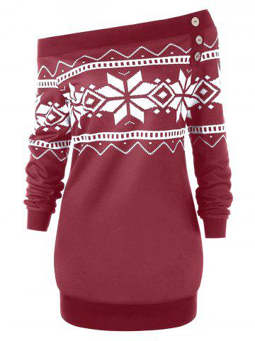 Plus Size Pullover Snowflake Geometric Skew Neck Sweatshirt - WINE RED - XL