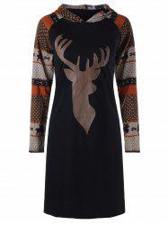 Christmas Elk Casual Raglan Sleeve Hooded Dress -