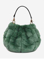Multi Function Faux Fur Handbag With Strap -