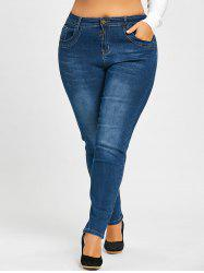 Plus Size Bleach Washed Stretch Jeans -