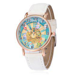 Faux Leather Strap Christmas Santa Face Watch -