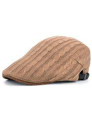 Outdoor Striped Pattern Embellished Knit Newsboy Hat -